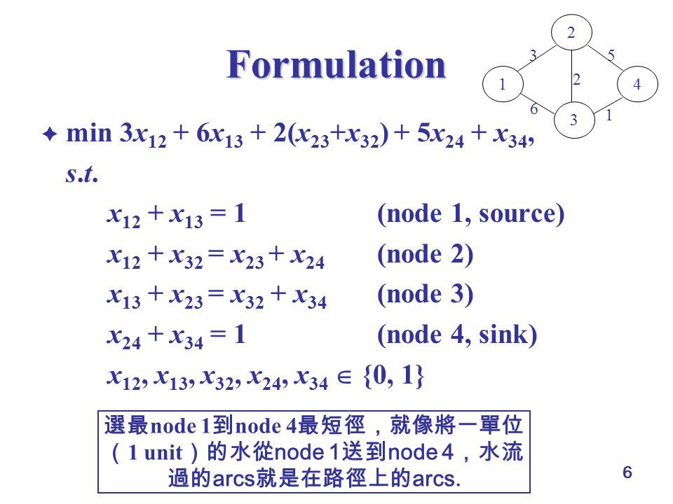 6 Formulation  min 3x 12 + 6x 13 + 2(x 23 +x 32 ) + 5x 24 + x 34, s.t.s.t.