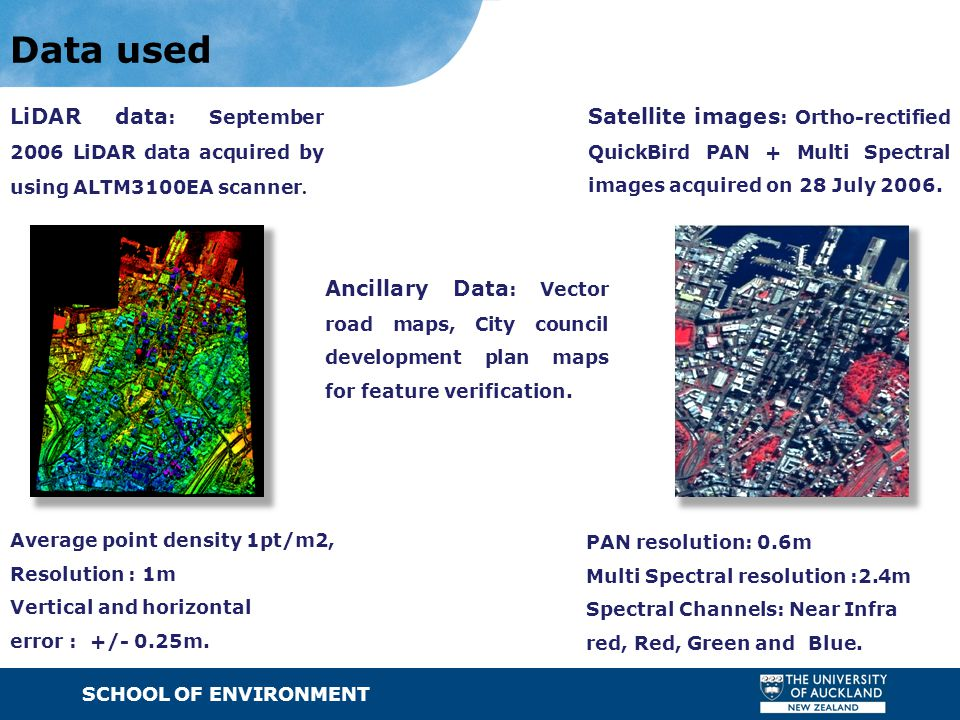 SCHOOL OF ENVIRONMENT · Text Data used LiDAR data : September 2006 LiDAR data acquired by using ALTM3100EA scanner. Average point density 1pt/m2, Reso