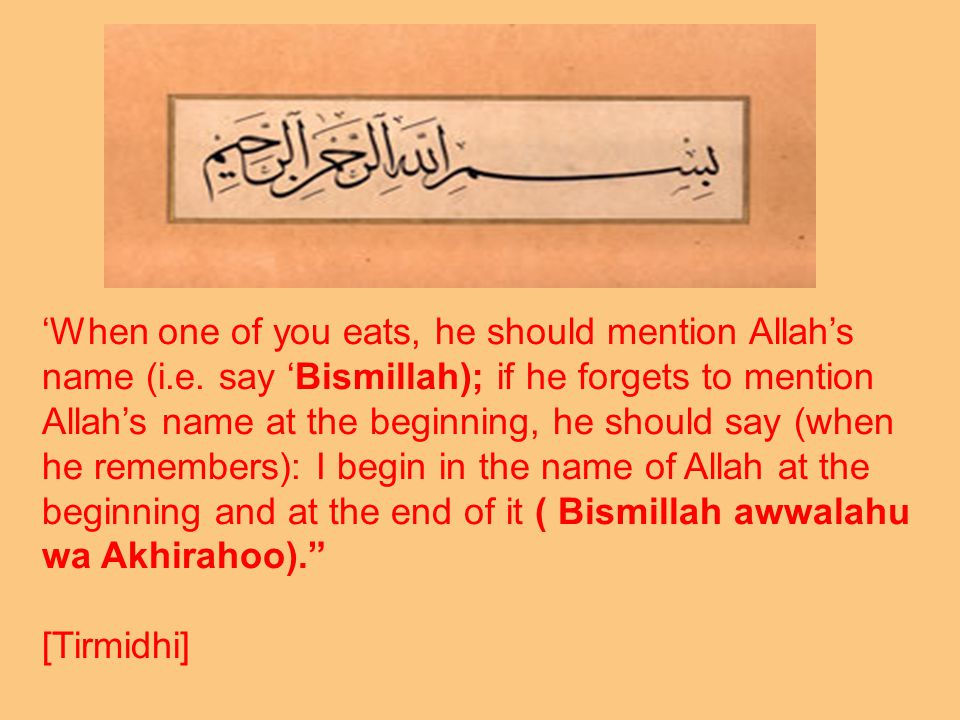 'When one of you eats, he should mention Allah's name (i.e.