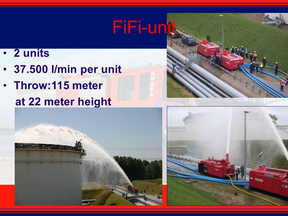 2 units 37.500 l/min per unit Throw:115 meter at 22 meter height FiFi-unit