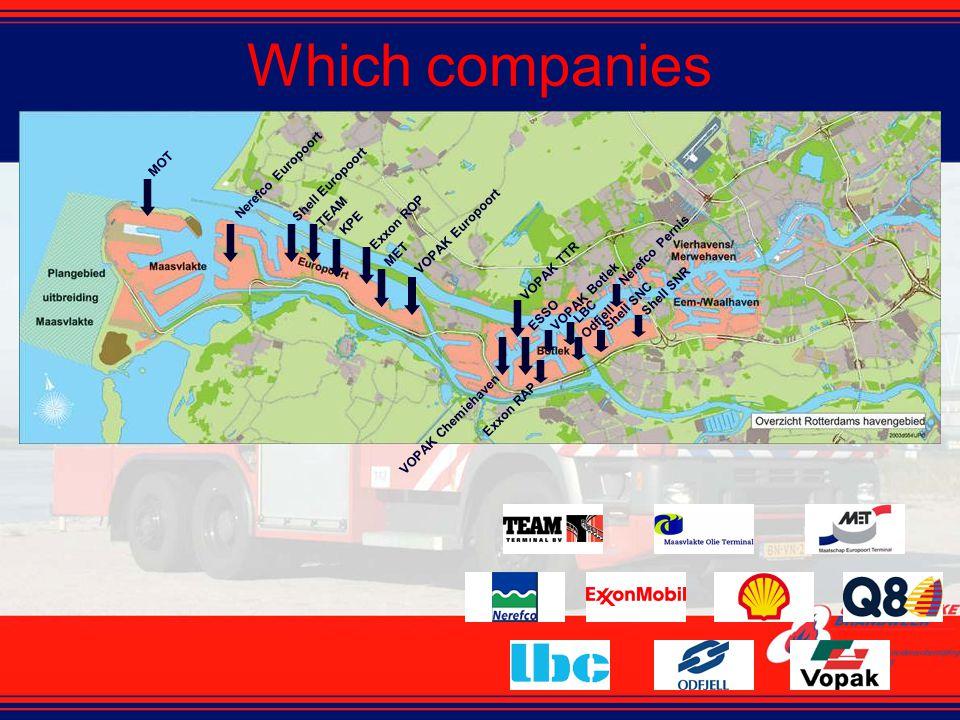 Which companies MOT Nerefco Europoort Shell Europoort TEAM KPE Exxon ROP MET VOPAK Europoort VOPAK Chemiehaven VOPAK TTR ESSOVOPAK Botlek Exxon RAP LB