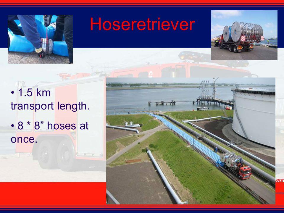 """Hoseretriever 1.5 km transport length. 8 * 8"""" hoses at once."""