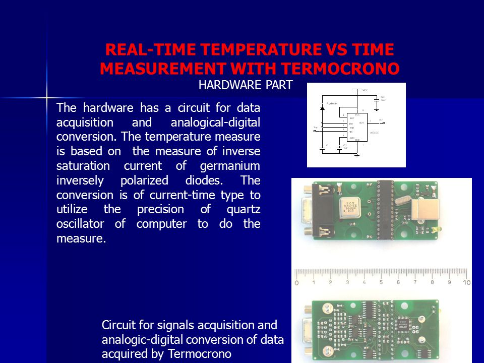 REAL-TIME TEMPERATURE VS TIME MEASUREMENT WITH TERMOCRONO The hardware has a circuit for data acquisition and analogical-digital conversion. The tempe