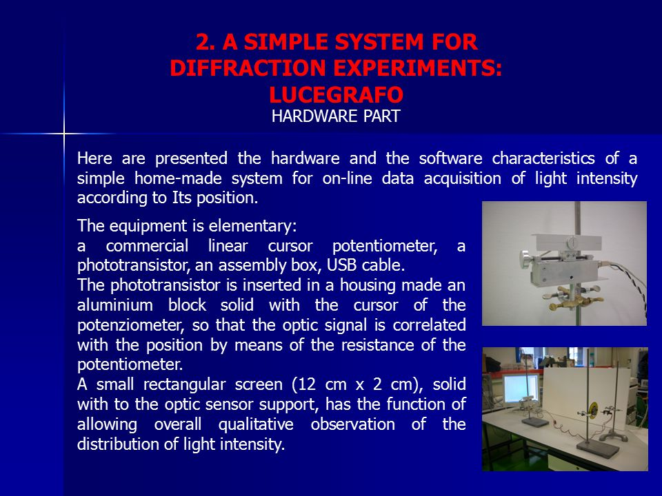 2. A SIMPLE SYSTEM FOR DIFFRACTION EXPERIMENTS: LUCEGRAFO Here are presented the hardware and the software characteristics of a simple home-made syste