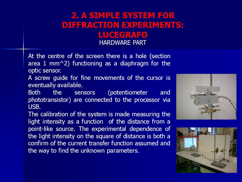 2. A SIMPLE SYSTEM FOR DIFFRACTION EXPERIMENTS: LUCEGRAFO HARDWARE PART At the centre of the screen there is a hole (section area 1 mm^2) functioning