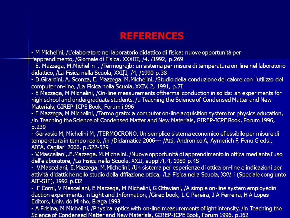 REFERENCES - M Michelini, /L elaboratore nel laboratorio didattico di fisica: nuove opportunità per l apprendimento, /Giornale di Fisica, XXXIII, /4, /1992, p.269 - E.