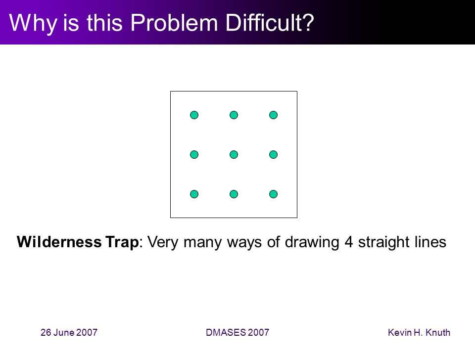 Kevin H. Knuth26 June 2007DMASES 2007 Why is this Problem Difficult? Wilderness Trap: Very many ways of drawing 4 straight lines