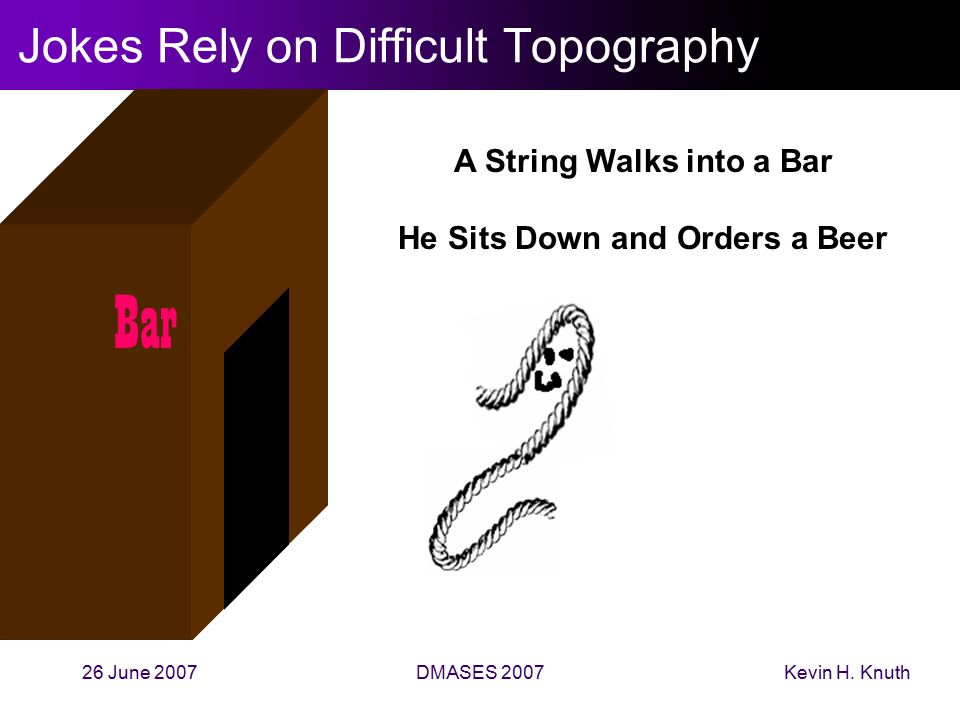 Kevin H. Knuth26 June 2007DMASES 2007 Jokes Rely on Difficult Topography Bar A String Walks into a Bar He Sits Down and Orders a Beer