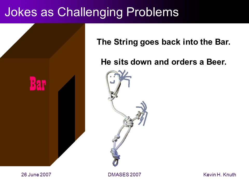 Kevin H. Knuth26 June 2007DMASES 2007 Jokes as Challenging Problems Bar The String goes back into the Bar. He sits down and orders a Beer.