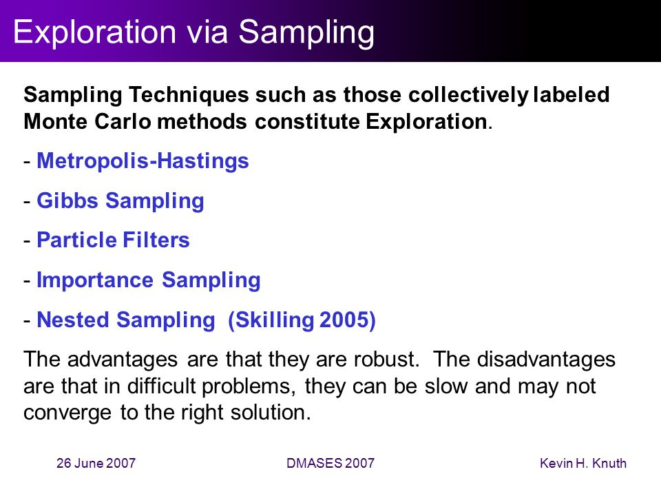 Kevin H. Knuth26 June 2007DMASES 2007 Exploration via Sampling Sampling Techniques such as those collectively labeled Monte Carlo methods constitute E