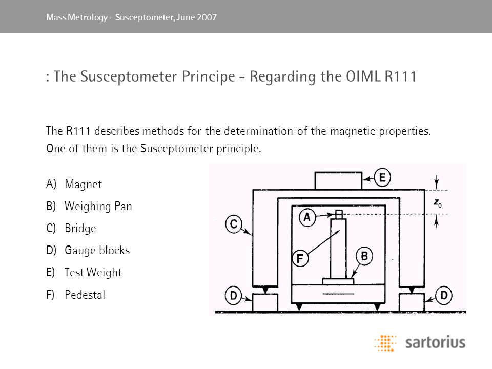 Mass Metrology, April 2003Mass Metrology - Susceptometer, June 2007 : The Susceptometer Principe - Regarding the OIML R111 The R111 describes methods for the determination of the magnetic properties.