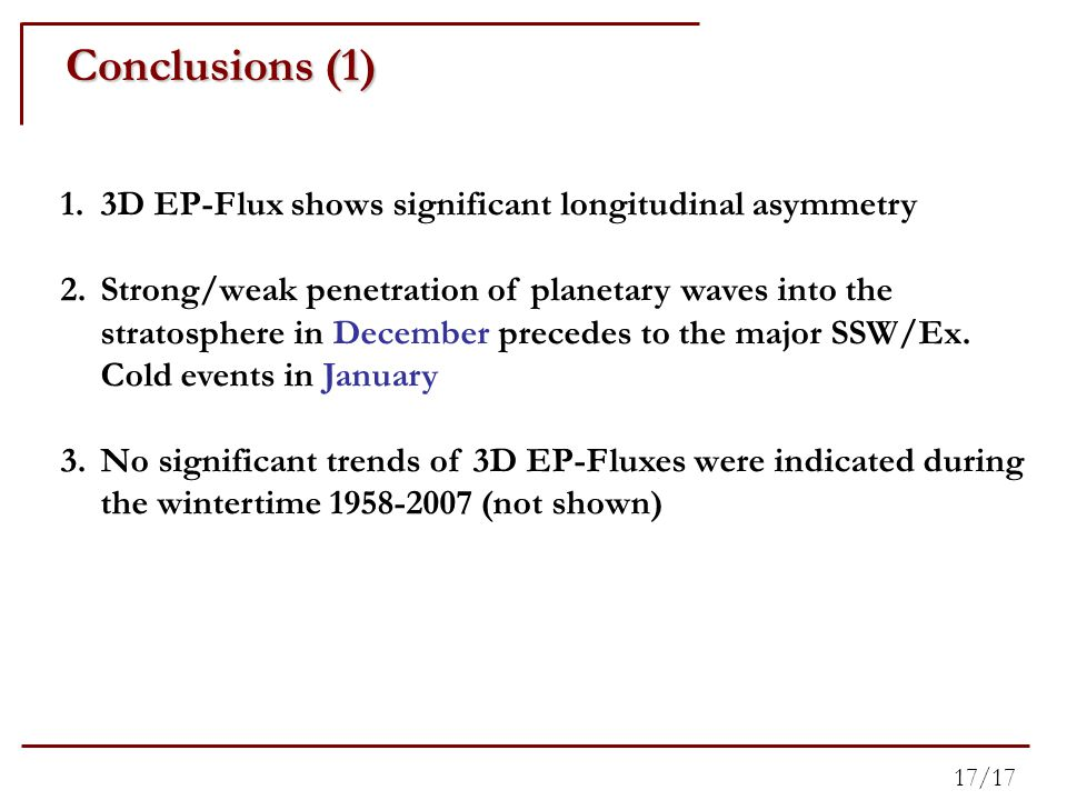 Conclusions (1) 1.3D EP-Flux shows significant longitudinal asymmetry 2.Strong/weak penetration of planetary waves into the stratosphere in December precedes to the major SSW/Ex.