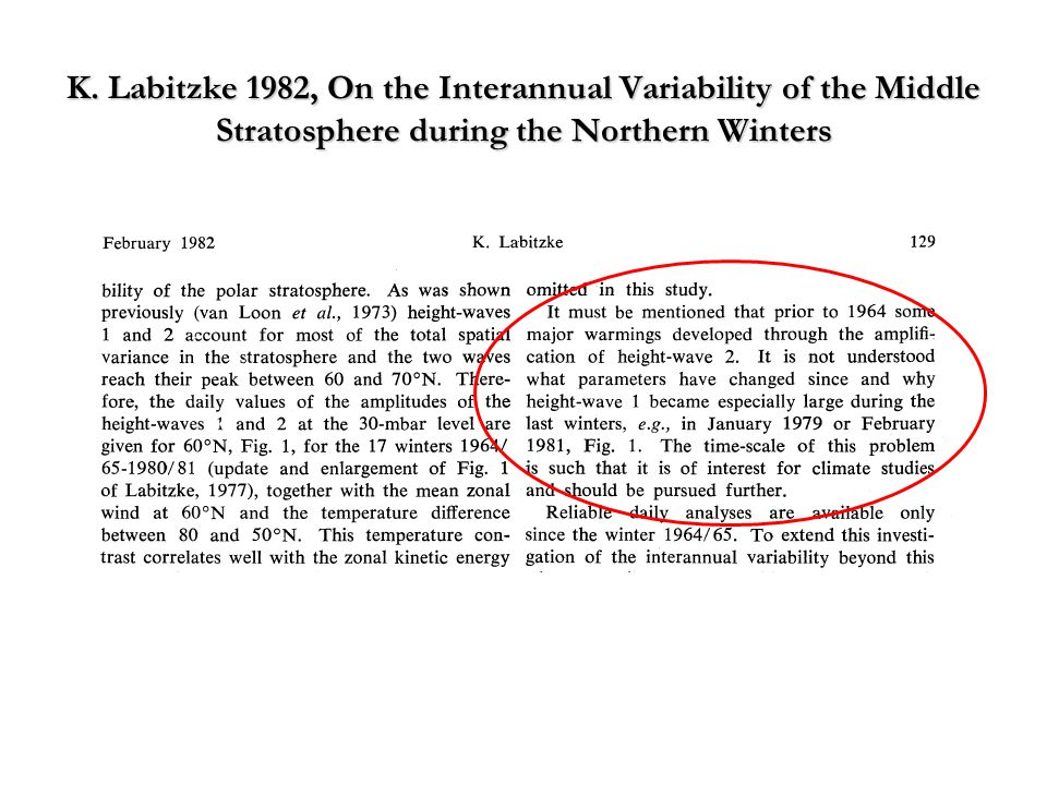 K. Labitzke 1982, On the Interannual Variability of the Middle Stratosphere during the Northern Winters