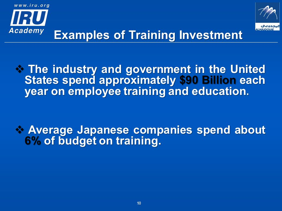 10  The industry and government in the United States spend approximately $90 Billion each year on employee training and education.