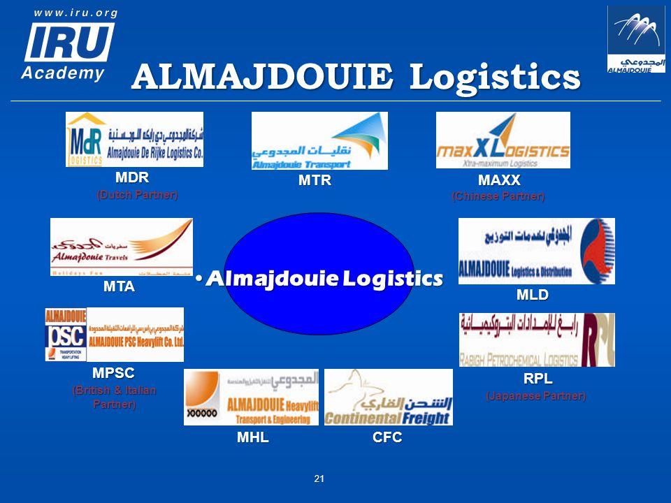ALMAJDOUIE Logistics (Dutch Partner) (Chinese Partner) (British & Italian Partner) Almajdouie LogisticsAlmajdouie Logistics (Japanese Partner) MTR MTA MHLCFC MLD RPL MDR MPSC MAXX 21