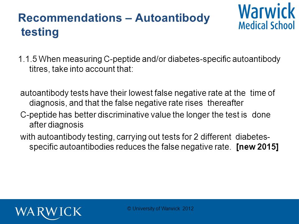 © University of Warwick 2012 Recommendations – Education & Information Offer all adults with type 1 diabetes a structured education programme of proven benefit, for example the DAFNE (dose adjustment for normal 6 eating) programme.