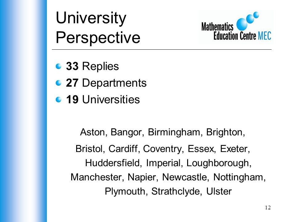 12 University Perspective 33 Replies 27 Departments 19 Universities Aston, Bangor, Birmingham, Brighton, Bristol, Cardiff, Coventry, Essex, Exeter, Huddersfield, Imperial, Loughborough, Manchester, Napier, Newcastle, Nottingham, Plymouth, Strathclyde, Ulster