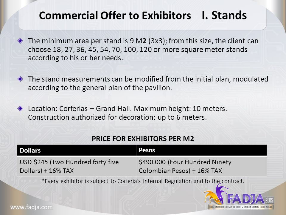 Commercial Offer to Exhibitors I.