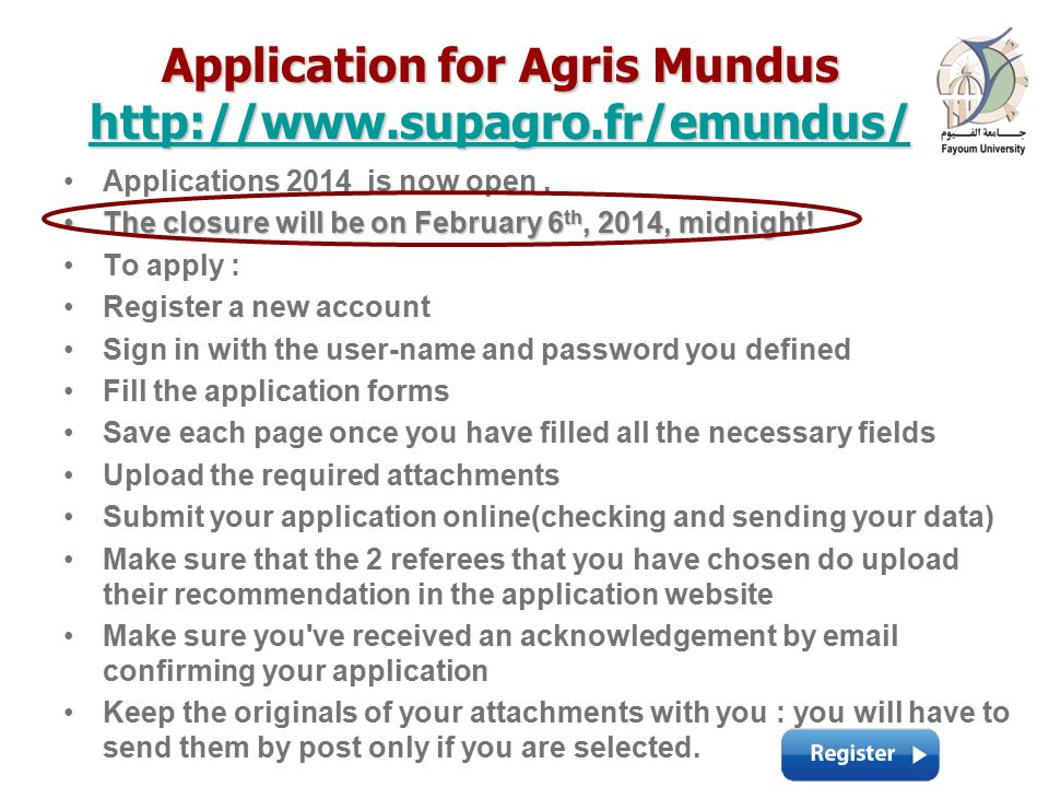 Application for Agris Mundus     Applications 2014 is now open.
