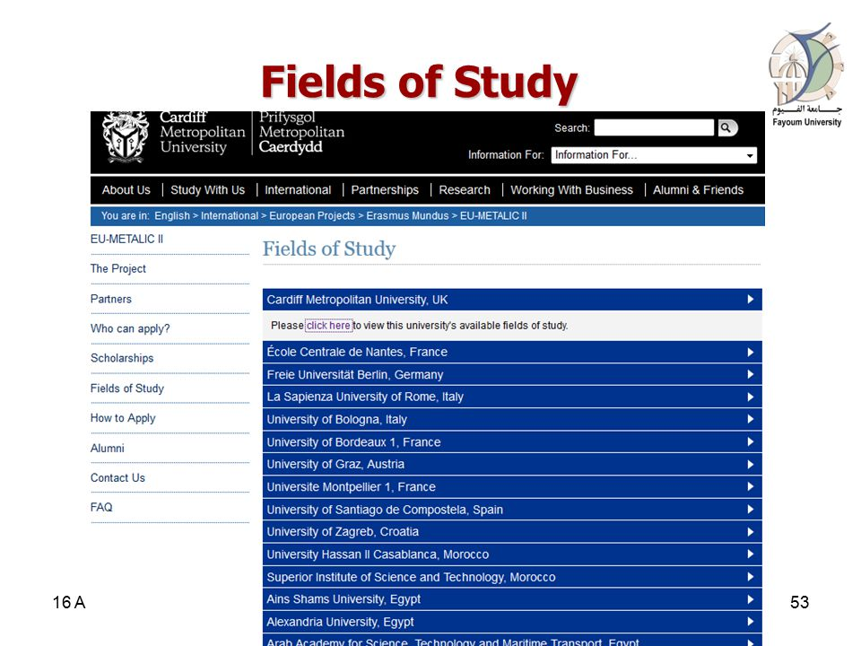 Fields of Study Fields of Study 16 April