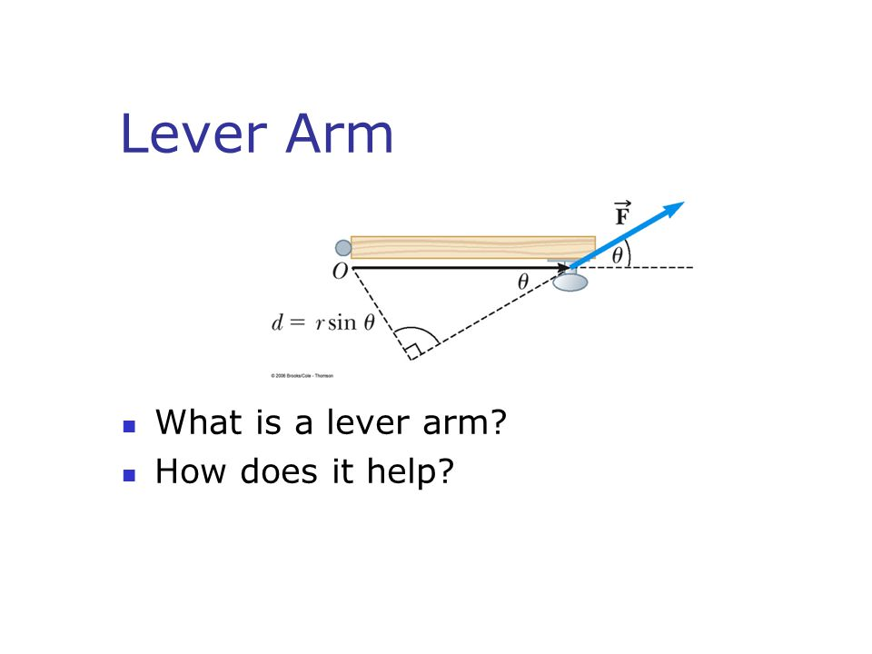 Lever Arm What is a lever arm? How does it help?