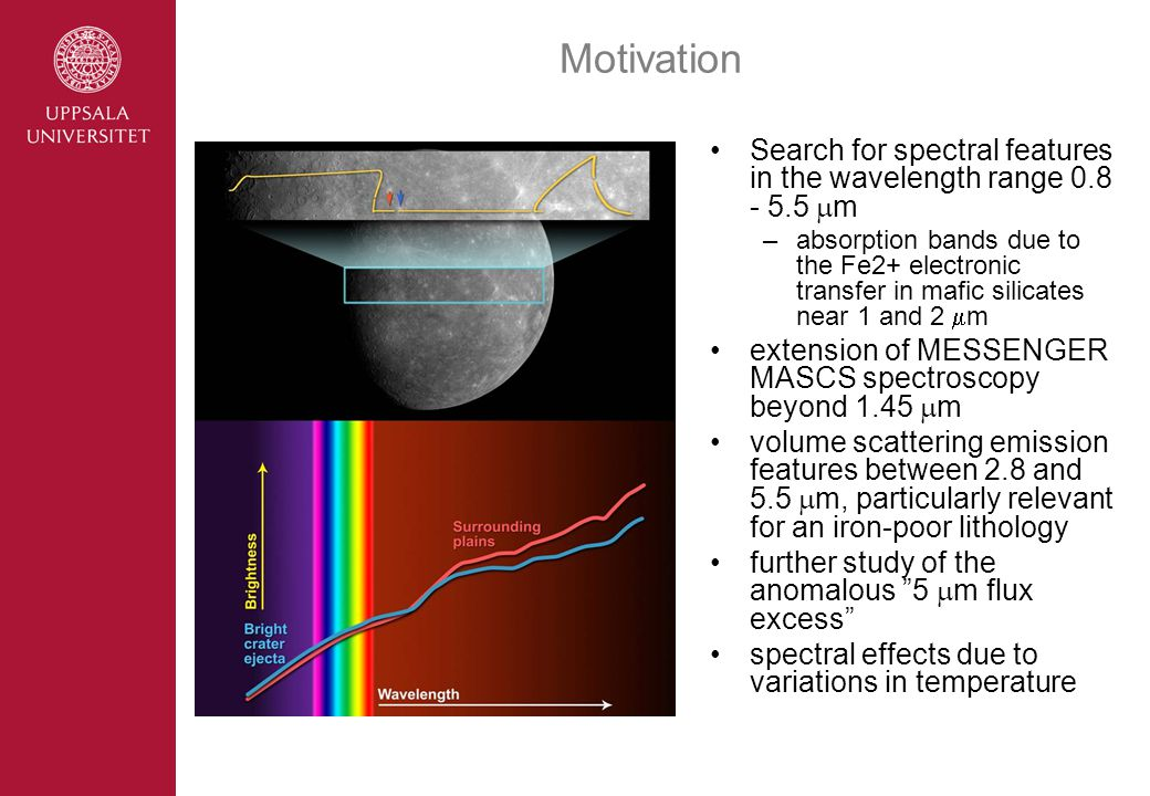 Motivation Search for spectral features in the wavelength range 0.8 - 5.5  m –absorption bands due to the Fe2+ electronic transfer in mafic silicates near 1 and 2  m extension of MESSENGER MASCS spectroscopy beyond 1.45  m volume scattering emission features between 2.8 and 5.5  m, particularly relevant for an iron-poor lithology further study of the anomalous 5  m flux excess spectral effects due to variations in temperature