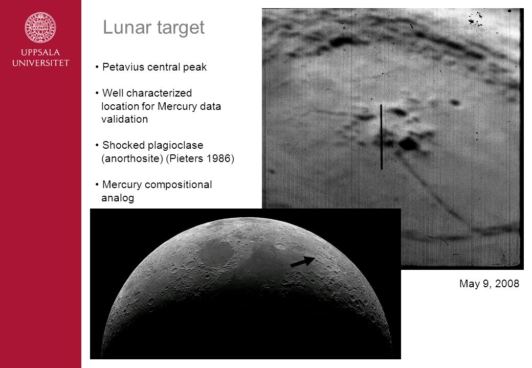 Lunar target Petavius central peak Well characterized location for Mercury data validation Shocked plagioclase (anorthosite) (Pieters 1986) Mercury compositional analog May 9, 2008