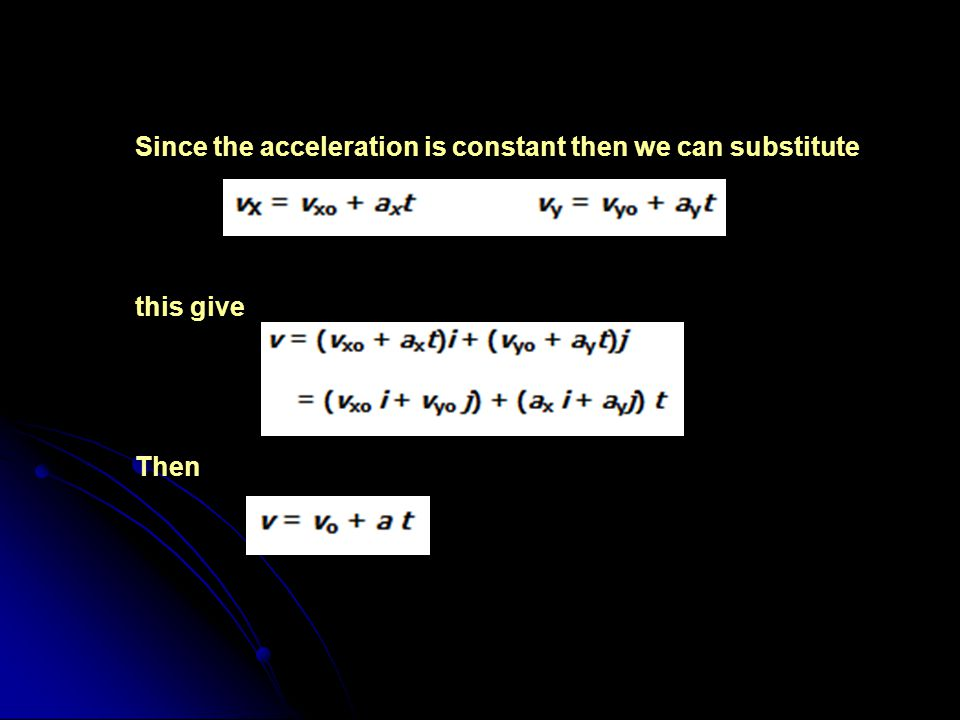 Since the acceleration is constant then we can substitute this give Then