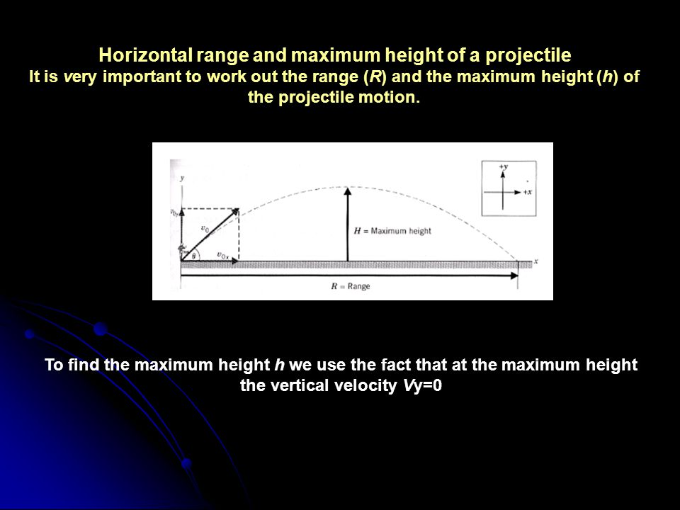 Horizontal range and maximum height of a projectile It is very important to work out the range (R) and the maximum height (h) of the projectile motion.