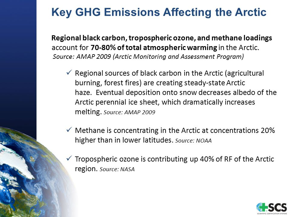 Key GHG Emissions Affecting the Arctic Regional black carbon, tropospheric ozone, and methane loadings account for 70-80% of total atmospheric warming in the Arctic.
