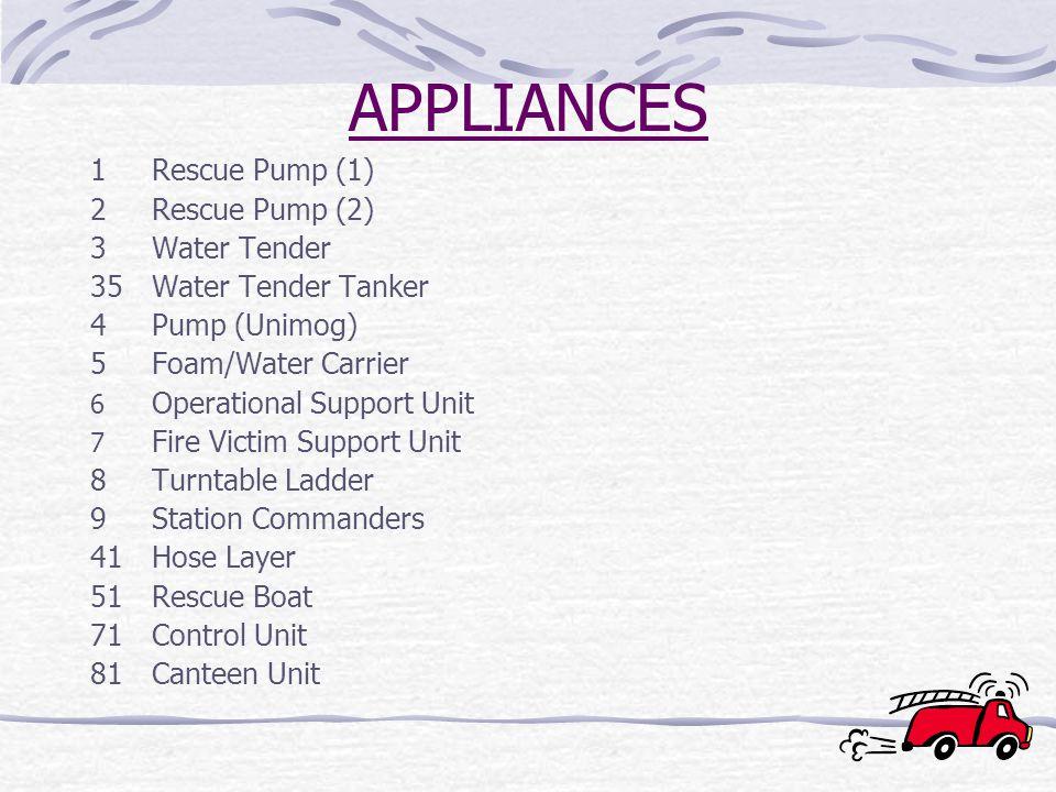 APPLIANCES 1Rescue Pump (1) 2Rescue Pump (2) 3Water Tender 35Water Tender Tanker 4Pump (Unimog) 5Foam/Water Carrier 6 Operational Support Unit 7 Fire