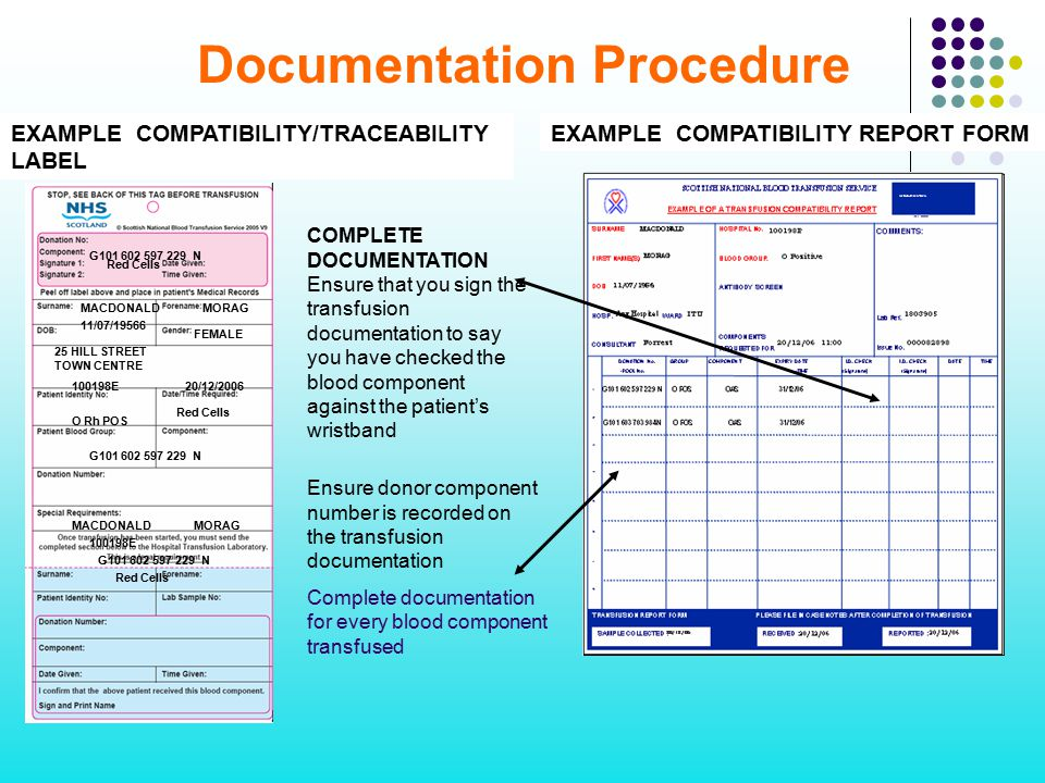 Documentation Procedure EXAMPLE COMPATIBILITY REPORT FORM COMPLETE DOCUMENTATION Ensure that you sign the transfusion documentation to say you have ch