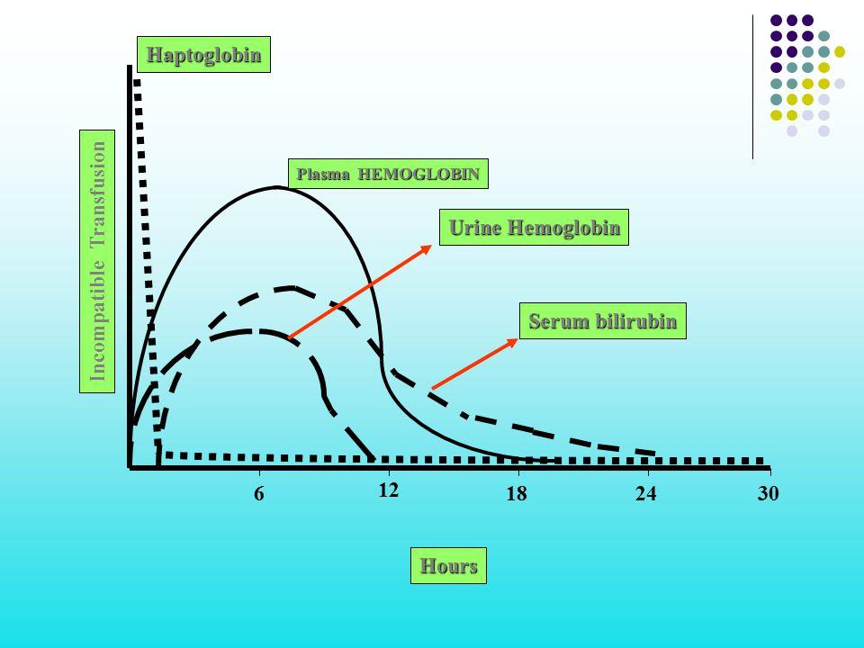 Incompatible Transfusion 6 12 182430 Hours Plasma HEMOGLOBIN Haptoglobin Urine Hemoglobin Serum bilirubin
