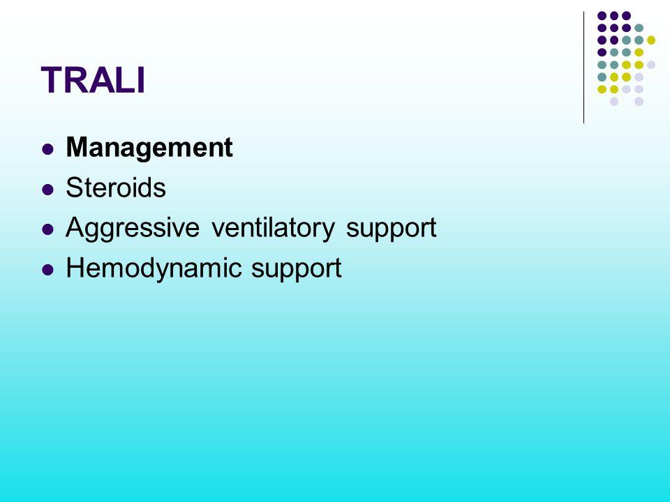 TRALI Management Steroids Aggressive ventilatory support Hemodynamic support