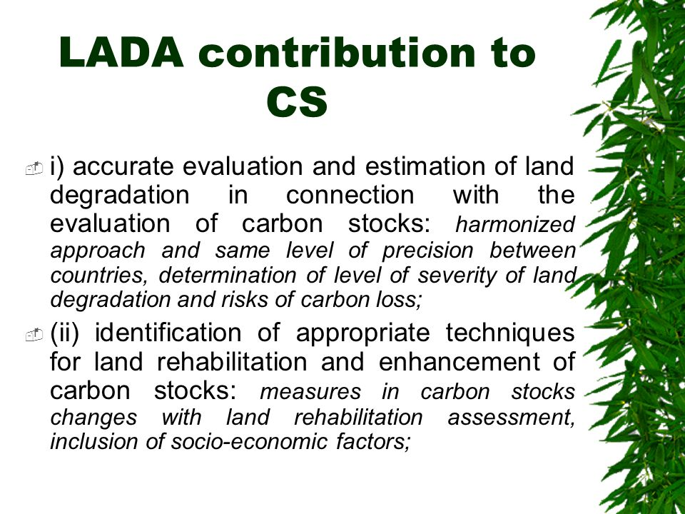 LADA contribution to CS  i) accurate evaluation and estimation of land degradation in connection with the evaluation of carbon stocks: harmonized approach and same level of precision between countries, determination of level of severity of land degradation and risks of carbon loss;  (ii) identification of appropriate techniques for land rehabilitation and enhancement of carbon stocks: measures in carbon stocks changes with land rehabilitation assessment, inclusion of socio-economic factors;