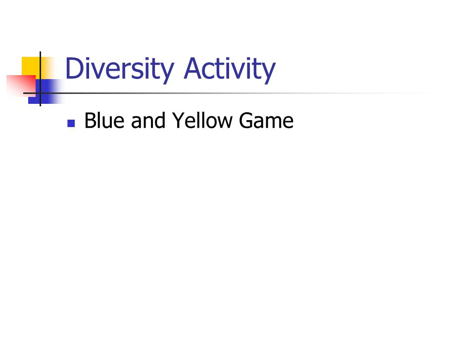 Diversity Activity Blue and Yellow Game