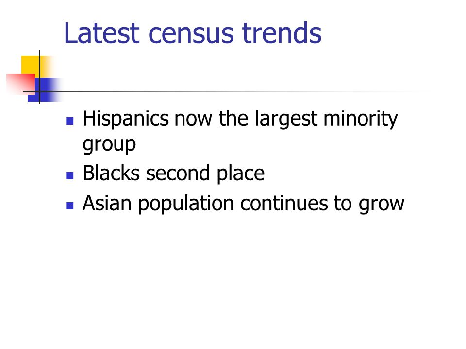 Latest census trends Hispanics now the largest minority group Blacks second place Asian population continues to grow