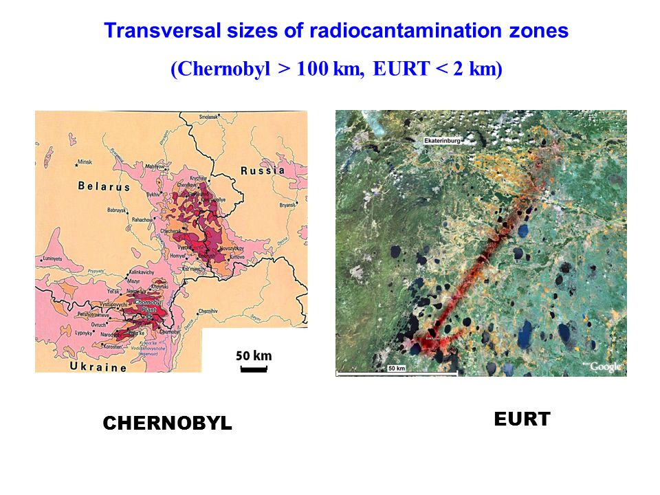 Transversal sizes of radiocantamination zones (Chernobyl > 100 km, EURT < 2 km) CHERNOBYL EURT