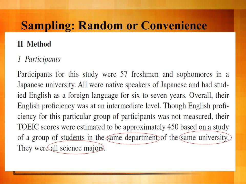 Sampling: Random or Convenience