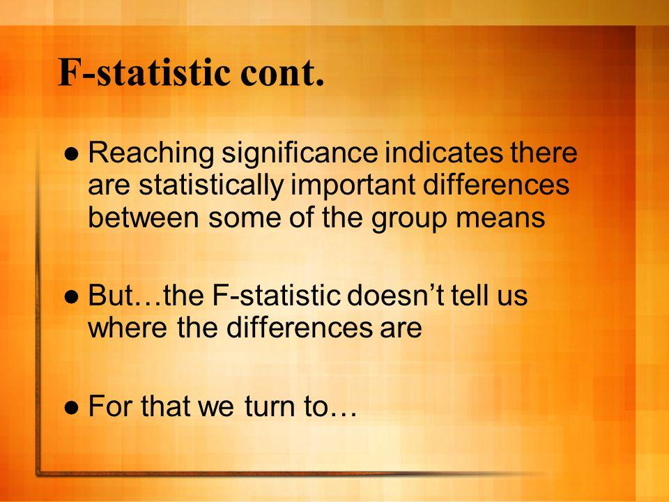 F-statistic cont.