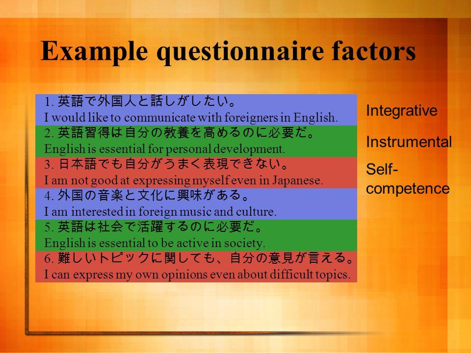 Example questionnaire factors 1.