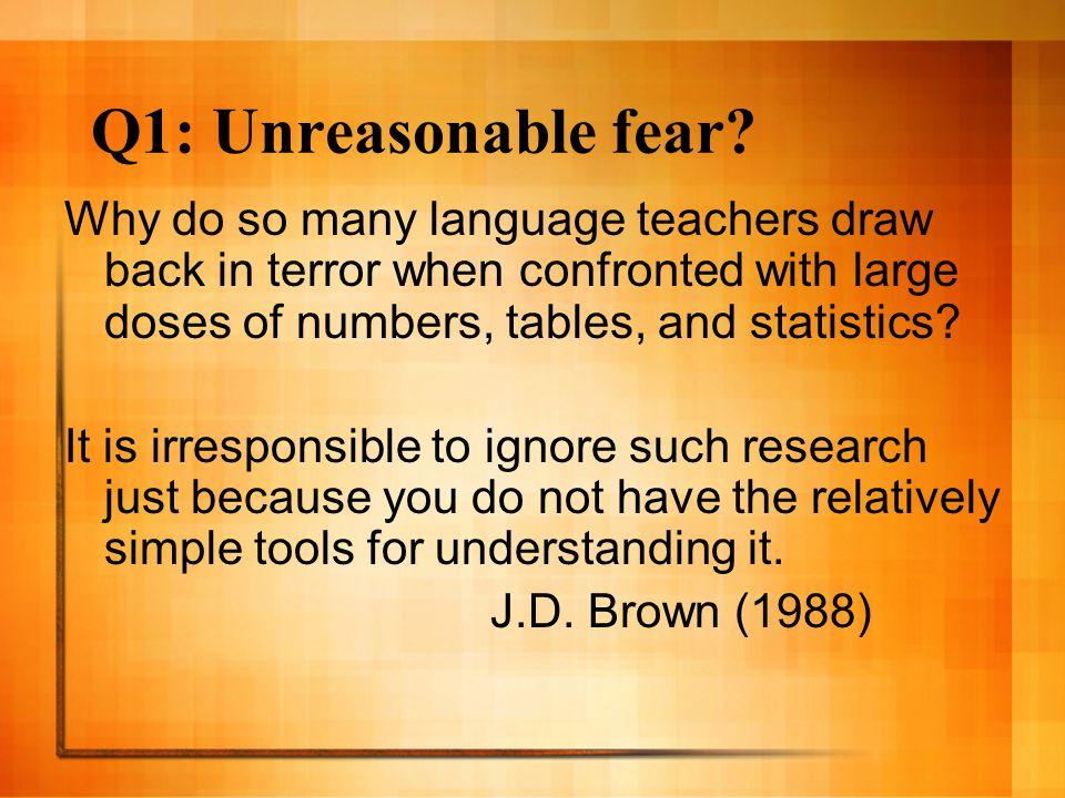 Q1: Unreasonable fear.