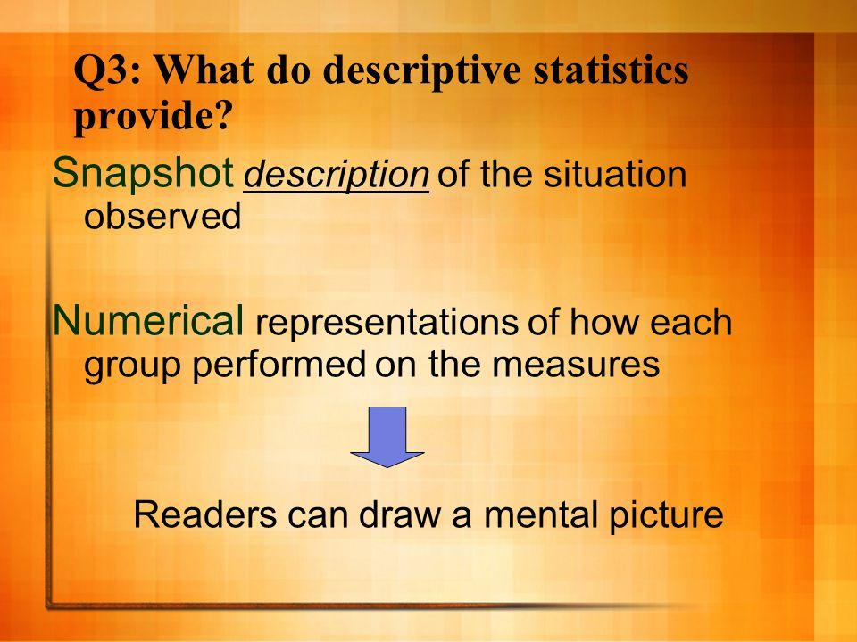 Q3: What do descriptive statistics provide.