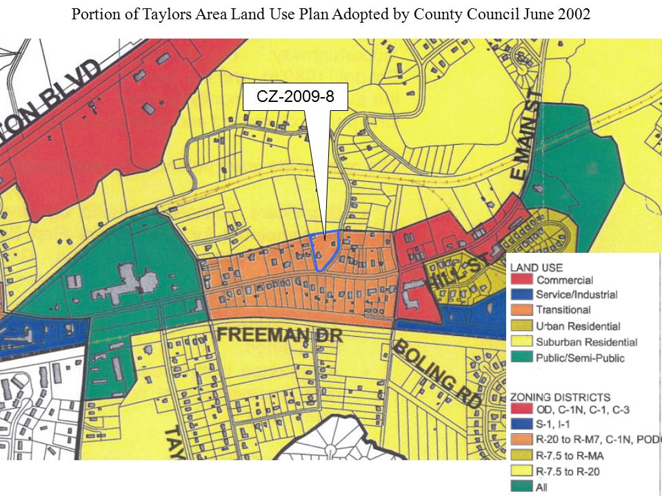 Portion of Taylors Area Land Use Plan Adopted by County Council June 2002 CZ-2009-8