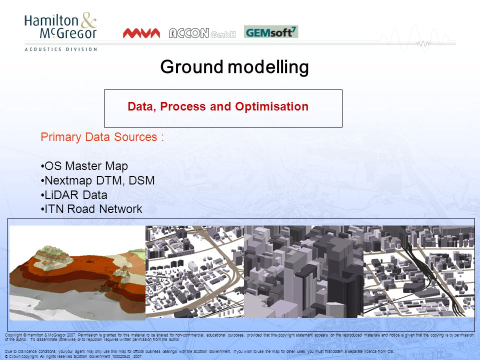 Ground modelling Primary Data Sources : OS Master Map Nextmap DTM, DSM LiDAR Data ITN Road Network Data, Process and Optimisation Copyright © Hamilton & McGregor 2007.