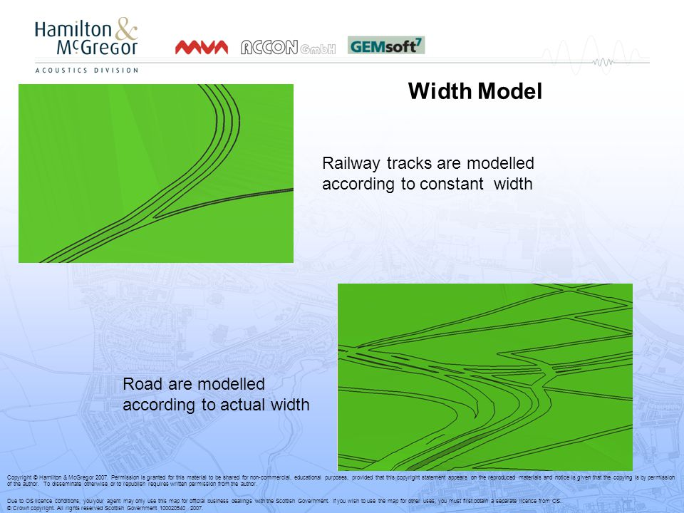 Width Model Railway tracks are modelled according to constant width Road are modelled according to actual width Copyright © Hamilton & McGregor 2007.