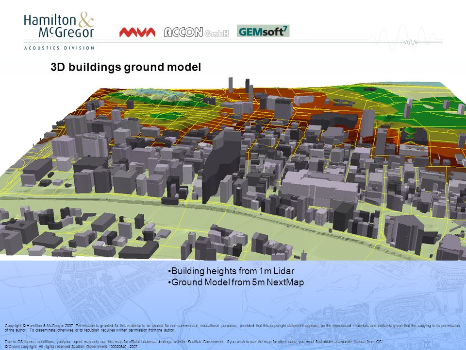 3D buildings ground model Building heights from 1m Lidar Ground Model from 5m NextMap Copyright © Hamilton & McGregor 2007.