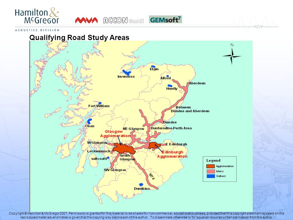 Qualifying Road Study Areas Copyright © Hamilton & McGregor 2007.