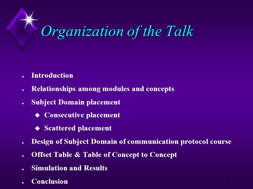 2 Organization of the Talk ● Introduction ● Relationships among modules and concepts ● Subject Domain placement  Consecutive placement  Scattered placement ● Design of Subject Domain of communication protocol course ● Offset Table & Table of Concept to Concept ● Simulation and Results ● Conclusion