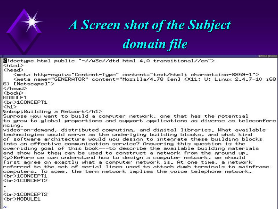 9 A Screen shot of the Subject domain file